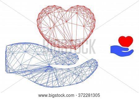 Web Mesh Romantic Heart Offer Hand Vector Icon. Flat 2d Carcass Created From Romantic Heart Offer Ha