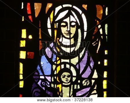 Virgin Mary with Child stain glass leaded window