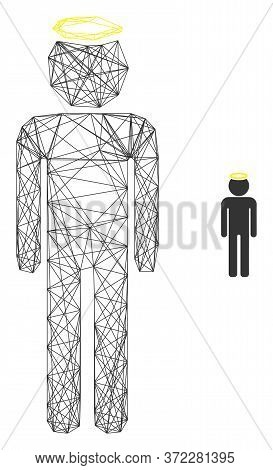 Web Net Holy Man Figure Vector Icon. Flat 2d Carcass Created From Holy Man Figure Pictogram. Abstrac