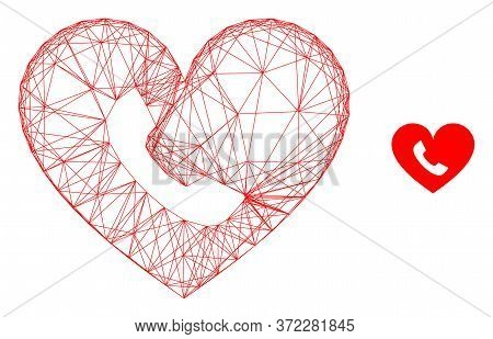 Web Mesh Phone Heart Vector Icon. Flat 2d Carcass Created From Phone Heart Pictogram. Abstract Carca