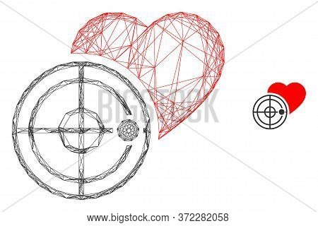 Web Net Love Heart Radar Vector Icon. Flat 2d Carcass Created From Love Heart Radar Pictogram. Abstr