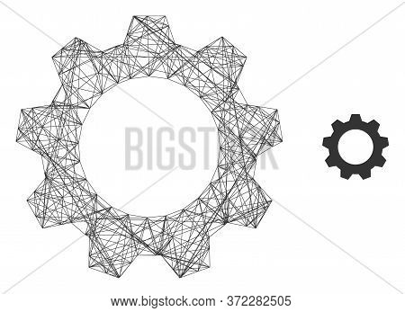 Web Net Gearwheel Vector Icon. Flat 2d Carcass Created From Gearwheel Pictogram. Abstract Frame Mesh