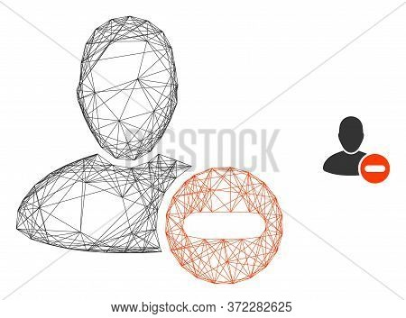 Web Carcass Remove User Vector Icon. Flat 2d Model Created From Remove User Pictogram. Abstract Carc