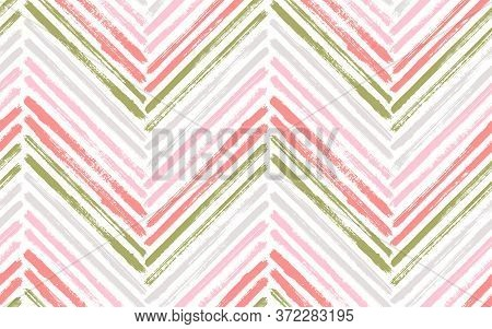 Summer Chevron Interior Print Vector Seamless Pattern. Paintbrush Strokes Geometric Stripes. Hand Dr