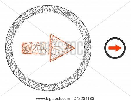 Web Mesh Rounded Right Arrow Vector Icon. Flat 2d Carcass Created From Rounded Right Arrow Pictogram