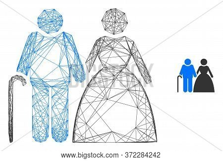 Web Mesh Grandparents Couple Vector Icon. Flat 2d Model Created From Grandparents Couple Pictogram.