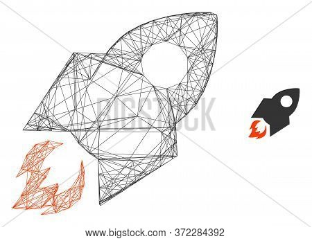 Web Mesh Rocket Flight Vector Icon. Flat 2d Carcass Created From Rocket Flight Pictogram. Abstract C