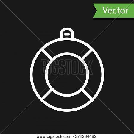 White Line Lifebuoy Icon Isolated On Black Background. Lifebelt Symbol. Vector