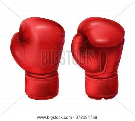Realistic Red Boxing Gloves, Pairs Of Boxing Equipment To Protecting Hands In Fist Fight. Vector Ill