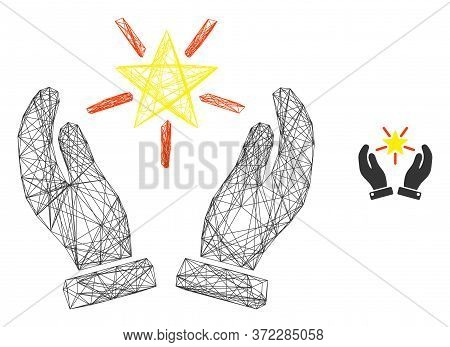 Web Network Shine Star Care Hands Vector Icon. Flat 2d Model Created From Shine Star Care Hands Pict