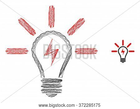 Web Mesh Electric Light Bulb Vector Icon. Flat 2d Carcass Created From Electric Light Bulb Pictogram