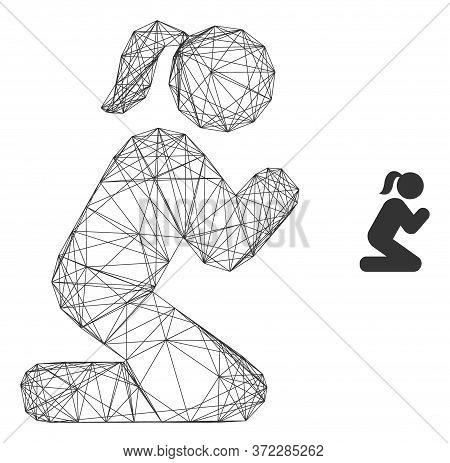 Web Carcass Praying Girl Vector Icon. Flat 2d Carcass Created From Praying Girl Pictogram. Abstract