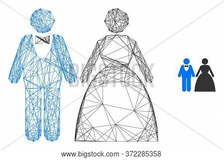 Web Carcass Groom With Bride Vector Icon. Flat 2d Model Created From Groom With Bride Pictogram. Abs