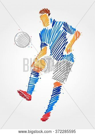 Soccer Player Dominating The Ball In The Same Place. Simple Drawing In Blue And Grayscale Brush Stro