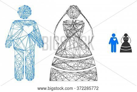 Web Carcass Marriage Persons Vector Icon. Flat 2d Carcass Created From Marriage Persons Pictogram. A
