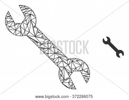 Web Mesh Spanner Vector Icon. Flat 2d Carcass Created From Spanner Pictogram. Abstract Frame Mesh Po