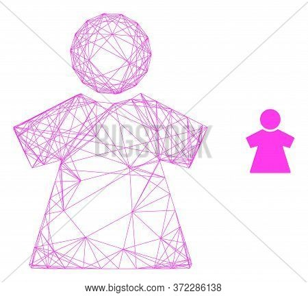 Web Mesh Girl Vector Icon. Flat 2d Carcass Created From Girl Pictogram. Abstract Carcass Mesh Polygo