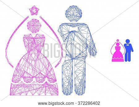 Web Carcass Newlyweds Vector Icon. Flat 2d Carcass Created From Newlyweds Pictogram. Abstract Carcas