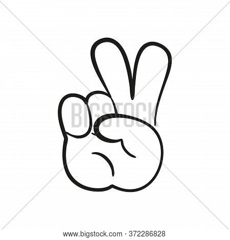 Cartoon Hand Peace Gesture With Two Fingers Up. Vector Illustration.
