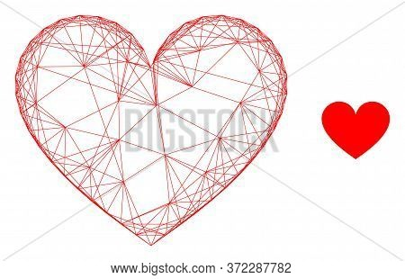 Web Carcass Love Heart Vector Icon. Flat 2d Carcass Created From Love Heart Pictogram. Abstract Carc