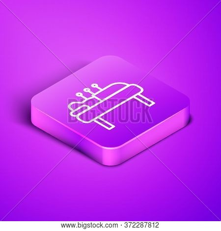 Isometric Line Acupuncture Therapy Icon Isolated On Purple Background. Chinese Medicine. Holistic Pa
