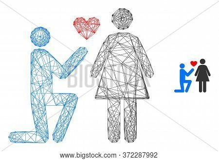Web Carcass Engagement Persons Vector Icon. Flat 2d Carcass Created From Engagement Persons Pictogra
