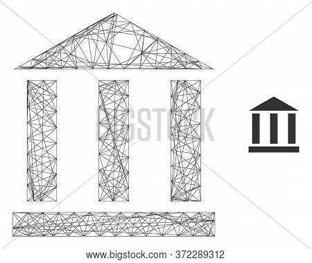 Web Network Library Building Vector Icon. Flat 2d Carcass Created From Library Building Pictogram. A