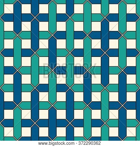 Stylized Overlapping Pipelines Background. Seamless Pattern With Maze, Labyrinth Motif. Contemporary