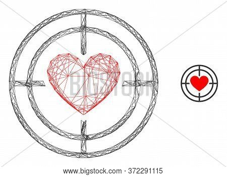 Web Carcass Love Target Vector Icon. Flat 2d Carcass Created From Love Target Pictogram. Abstract Ca
