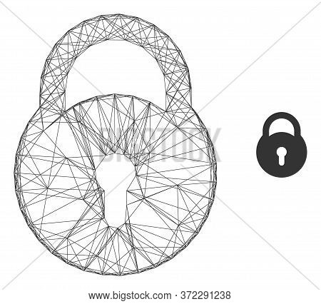 Web Mesh Lock Vector Icon. Flat 2d Carcass Created From Lock Pictogram. Abstract Carcass Mesh Polygo