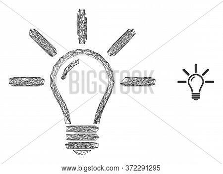 Web Net Light Bulb Vector Icon. Flat 2d Carcass Created From Light Bulb Pictogram. Abstract Carcass