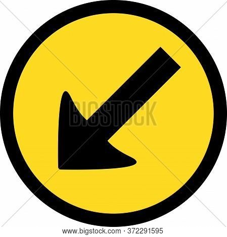 Temporary Keep Left Road Sign. Yellow Background. Traffic Symbol.