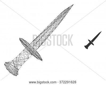 Web Carcass Sword Vector Icon. Flat 2d Carcass Created From Sword Pictogram. Abstract Carcass Mesh P