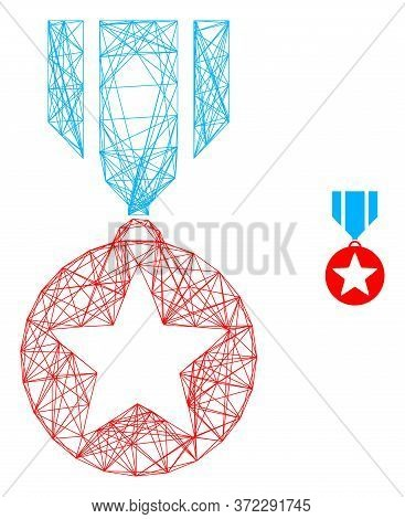 Web Carcass Star Medal Vector Icon. Flat 2d Carcass Created From Star Medal Pictogram. Abstract Carc
