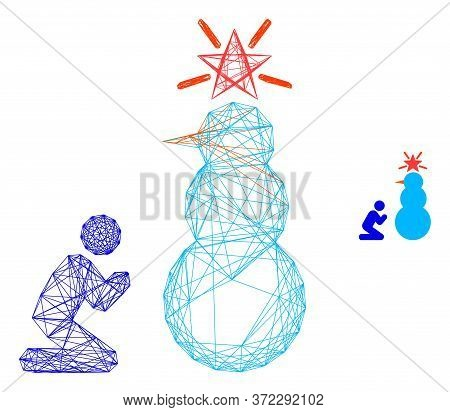 Web Carcass Pray To Holy Snowman Vector Icon. Flat 2d Carcass Created From Pray To Holy Snowman Pict