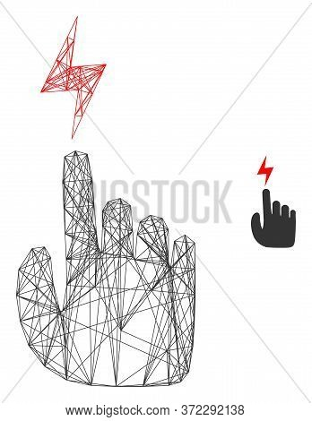 Web Network Electric Hand Vector Icon. Flat 2d Carcass Created From Electric Hand Pictogram. Abstrac