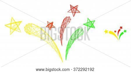 Web Mesh Star Fireworks Vector Icon. Flat 2d Carcass Created From Star Fireworks Pictogram. Abstract