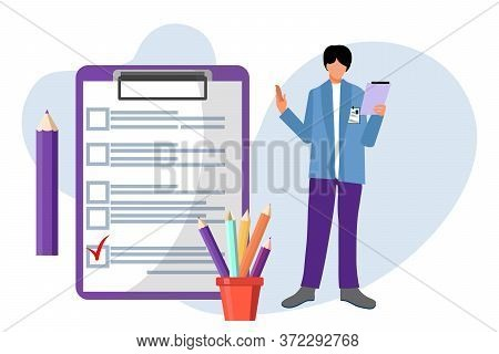 Checklist. Elections. Man With Checklist And Checkboxes. Business Plan, Marketing Strategy, Survey,