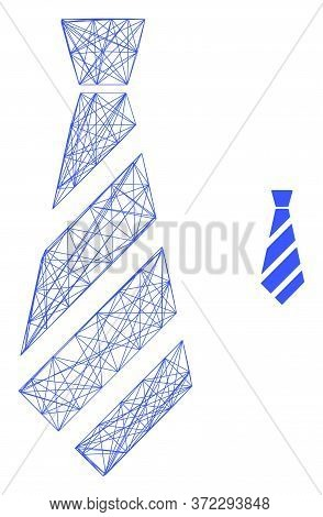 Web Mesh Striped Tie Vector Icon. Flat 2d Carcass Created From Striped Tie Pictogram. Abstract Carca