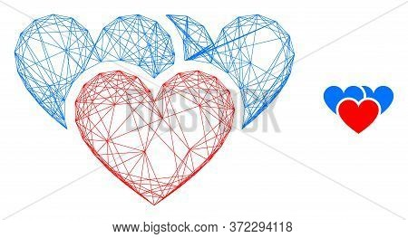 Web Net Love Hearts Vector Icon. Flat 2d Model Created From Love Hearts Pictogram. Abstract Carcass