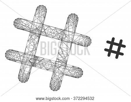 Web Net Jail Grid Vector Icon. Flat 2d Carcass Created From Jail Grid Pictogram. Abstract Carcass Me