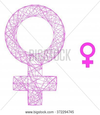Web Mesh Female Symbol Vector Icon. Flat 2d Carcass Created From Female Symbol Pictogram. Abstract C