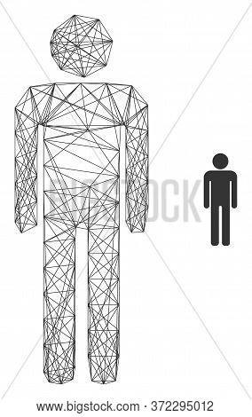 Web Mesh Man Figure Vector Icon. Flat 2d Carcass Created From Man Figure Pictogram. Abstract Carcass