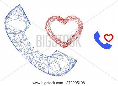 Web Mesh Love Phone Receiver Vector Icon. Flat 2d Carcass Created From Love Phone Receiver Pictogram