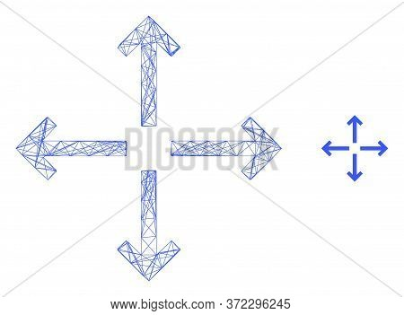 Web Net Expand Arrows Vector Icon. Flat 2d Carcass Created From Expand Arrows Pictogram. Abstract Ca