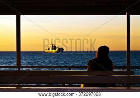 Lady Looking To Military Ship In Ferryboat Photo