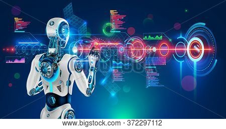 Robot Or Humanoid Cyborg Working With Abstract Tech Hologram Interface. Futuristic Ai In Industry 4.