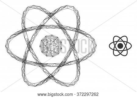Web Network Atom Vector Icon. Flat 2d Carcass Created From Atom Pictogram. Abstract Carcass Mesh Pol