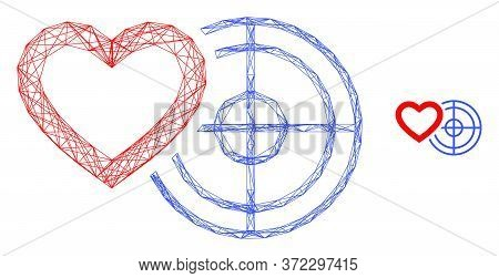 Web Carcass Romantic Heart Target Vector Icon. Flat 2d Carcass Created From Romantic Heart Target Pi