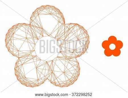 Web Net Flower Vector Icon. Flat 2d Carcass Created From Flower Pictogram. Abstract Carcass Mesh Pol